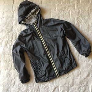 Boys navy lightweight jacket with hoodie size 10